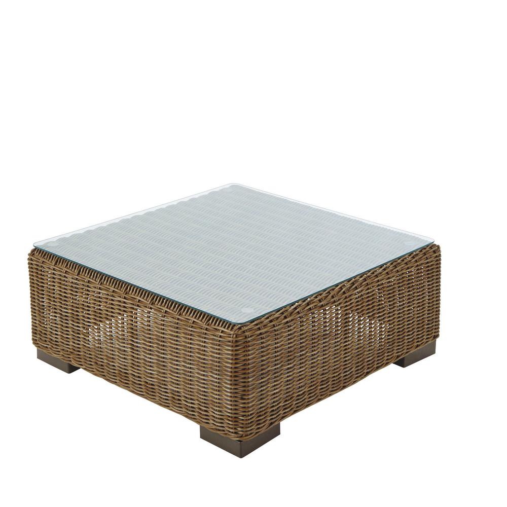 Table basse de jardin en verre trempé et résine tressée L 77 cm