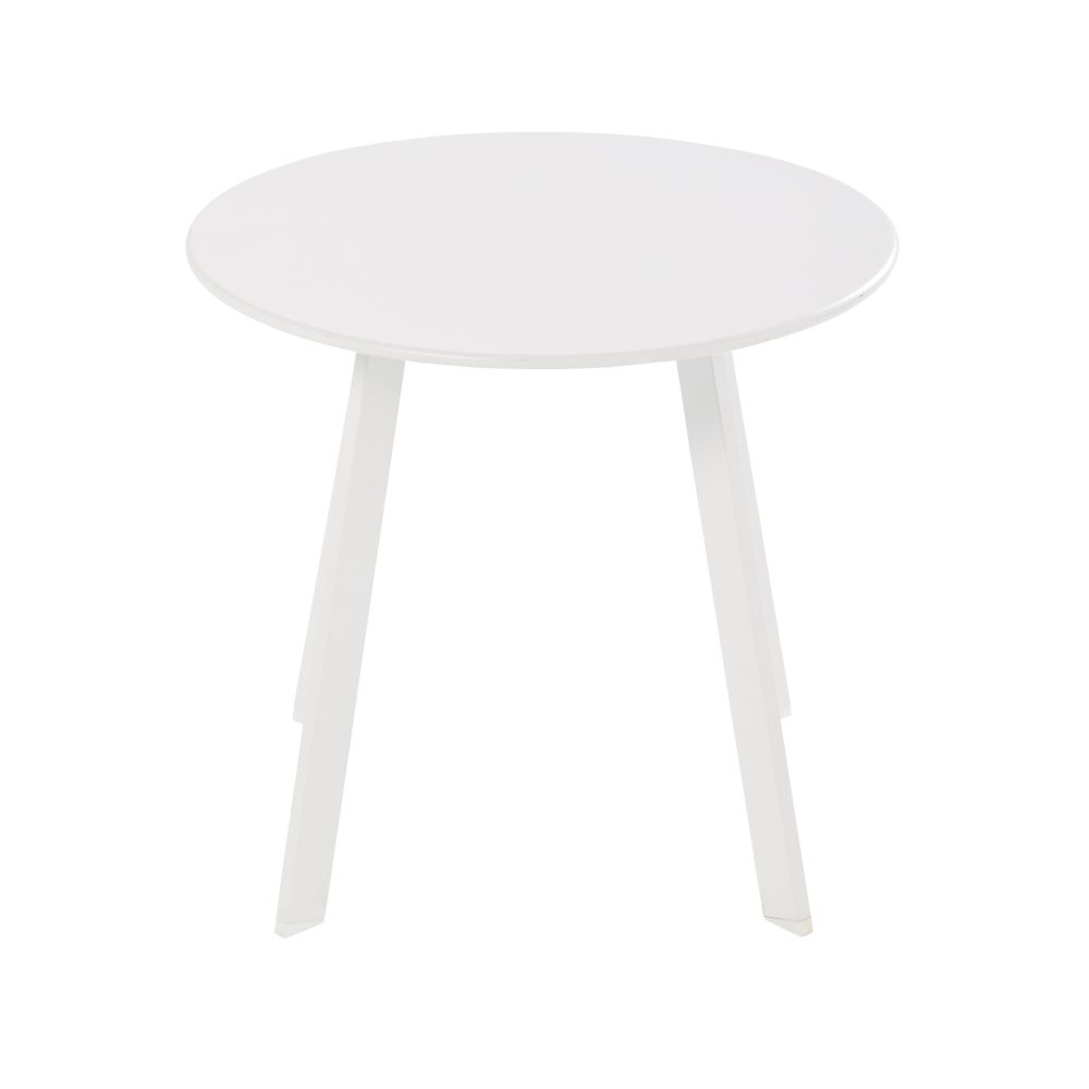 Table basse de jardin ronde en métal blanc