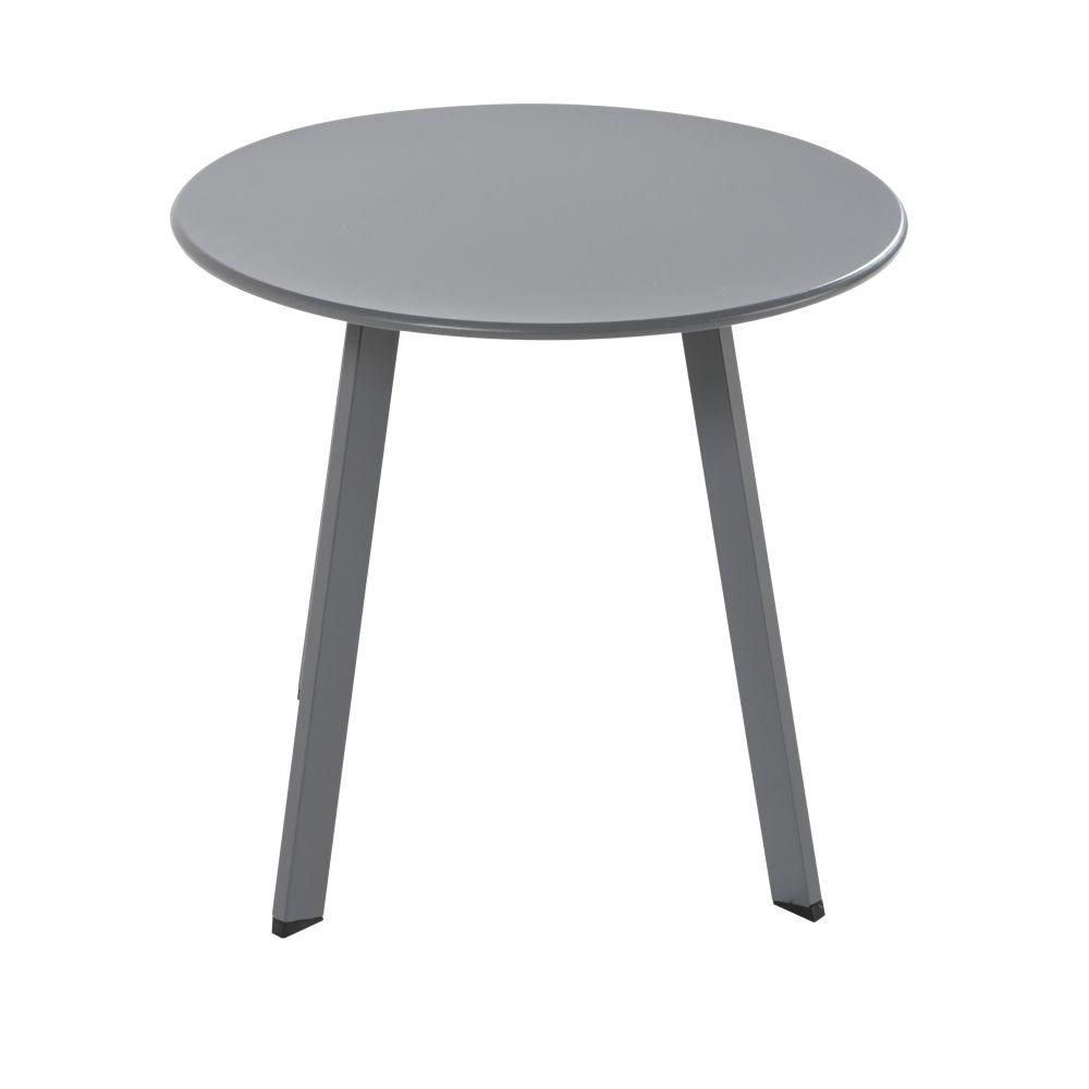 Table basse de jardin ronde en métal gris anthracite