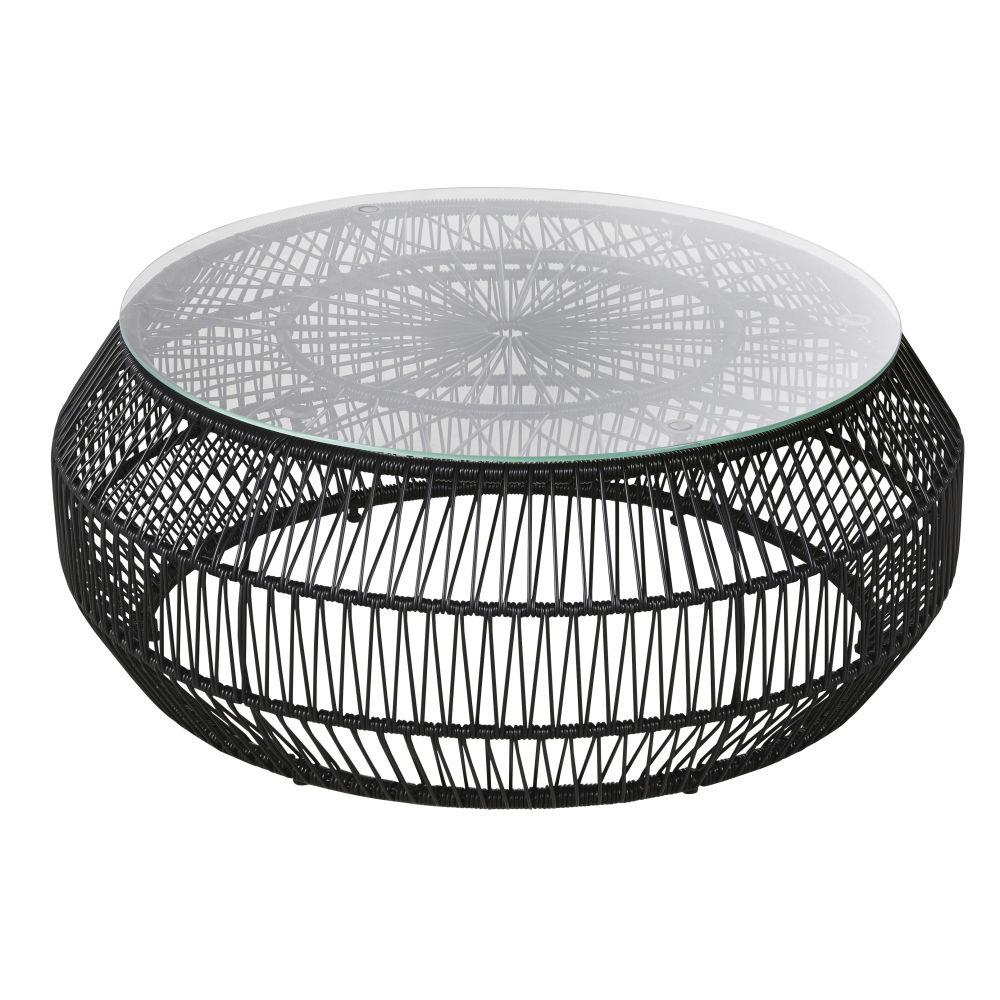 Table basse de jardin ronde en résine noire et verre