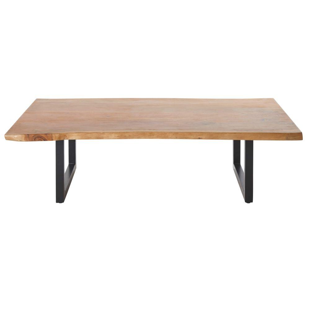 Table basse en acacia et métal noir