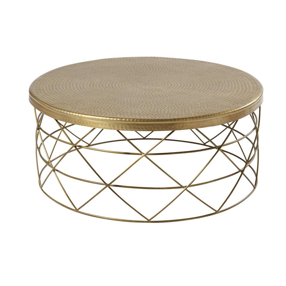 Table basse en aluminium et métal doré