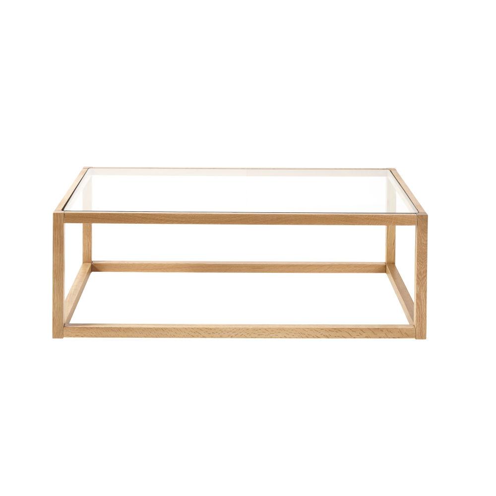 Table basse en chêne massif et verre