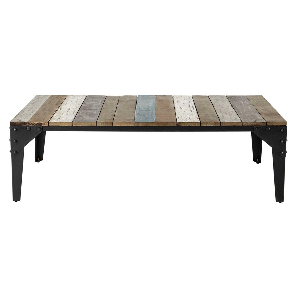 Table basse en manguier et métal