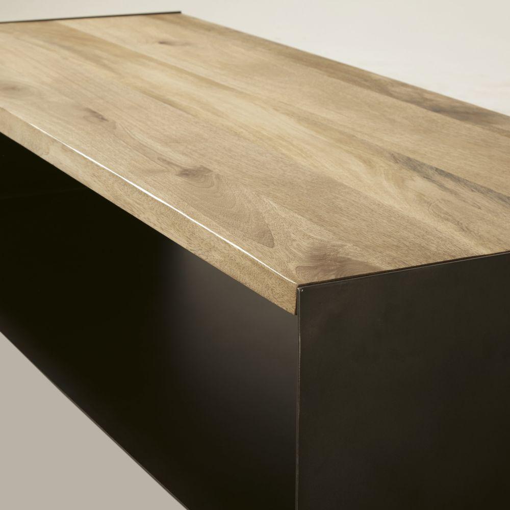 Table basse en manguier massif et métal