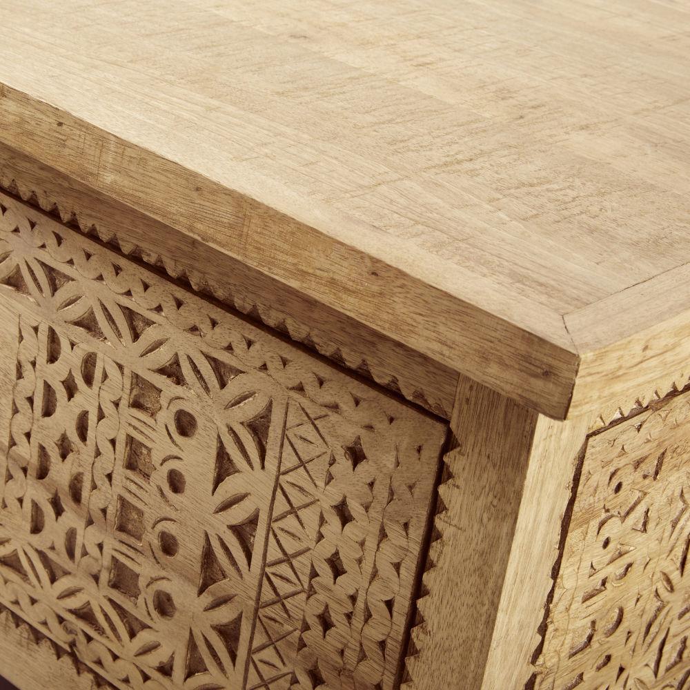 Table basse en manguier massif sculpté avec coffre de rangement