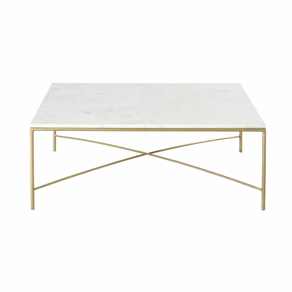 maison du monde Table basse en marbre blanc et métal coloris laiton