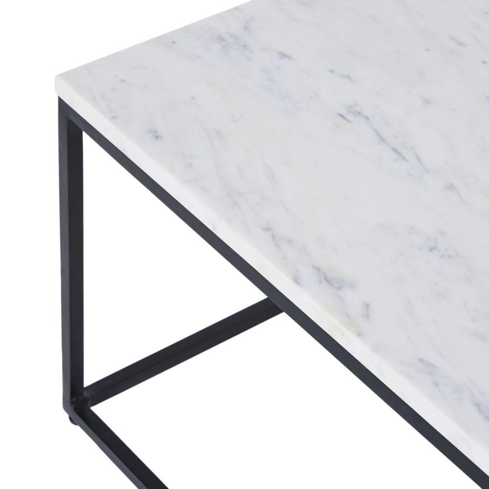 Table basse en marbre blanc et métal noir