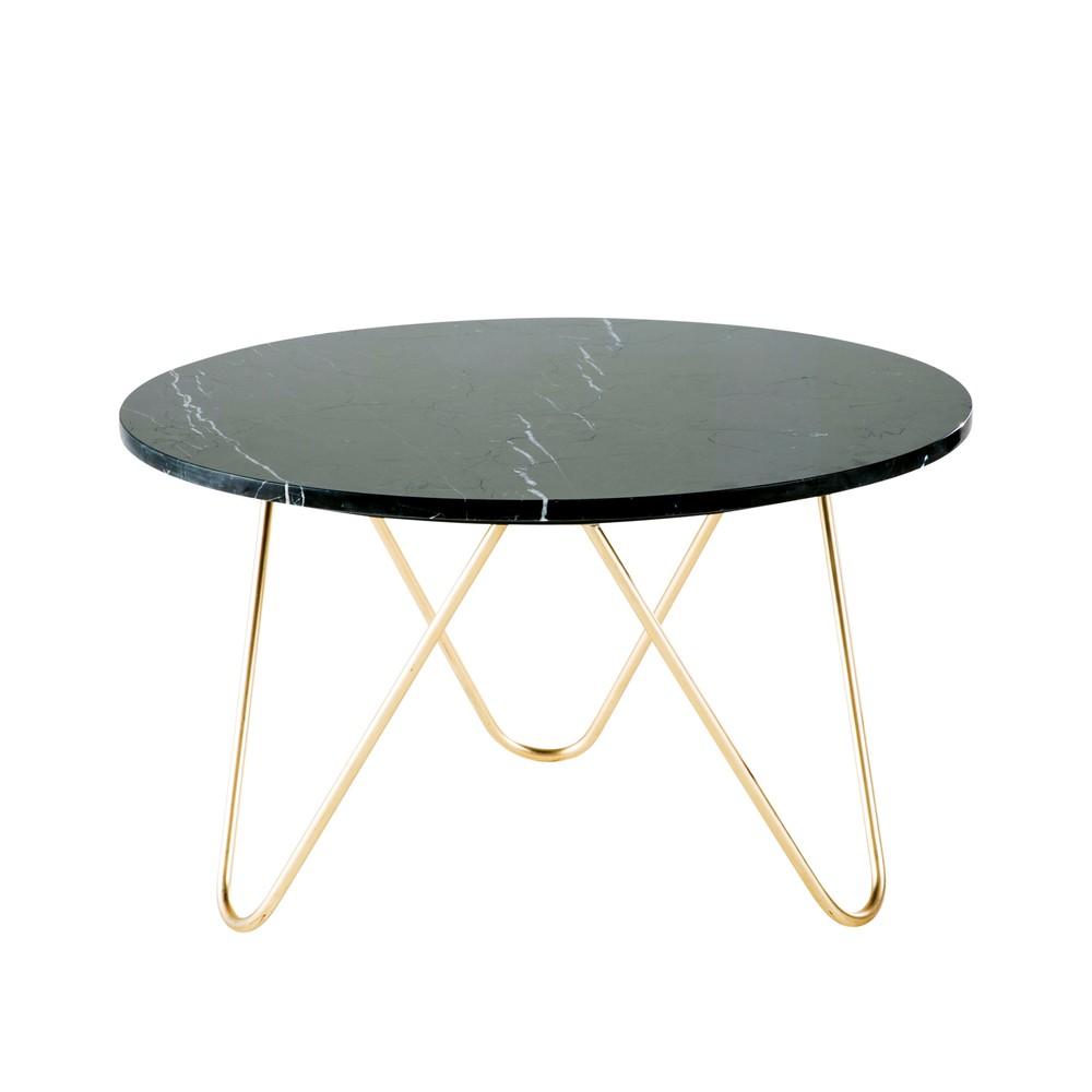 Table basse en marbre noir et métal doré