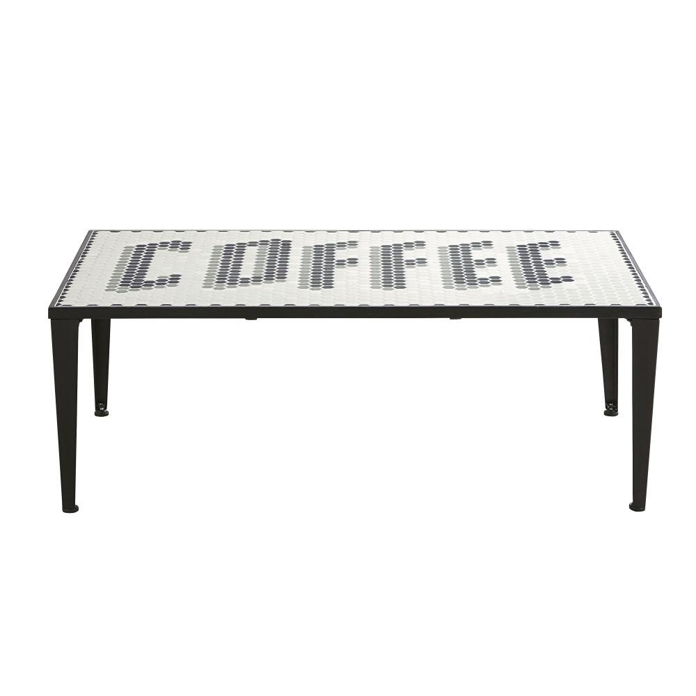 Table basse en métal et céramique noire et blanche