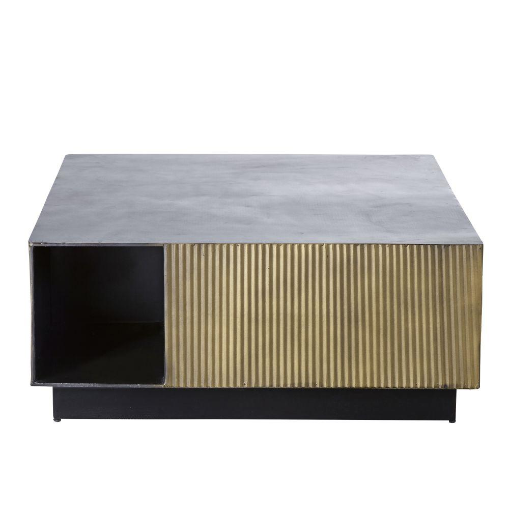 Table basse en métal ondulé coloris laiton et noir