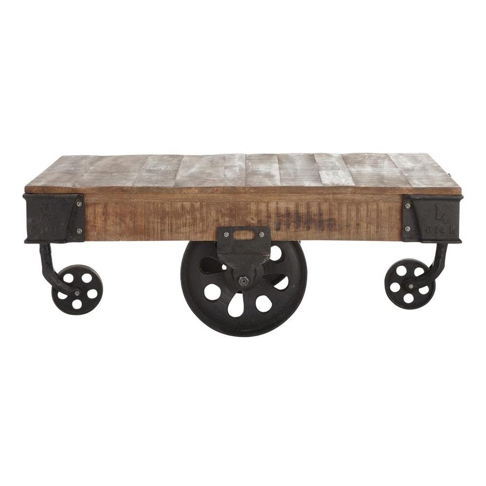 Table basse indus à roulettes en manguier massif et métal L 130 cm