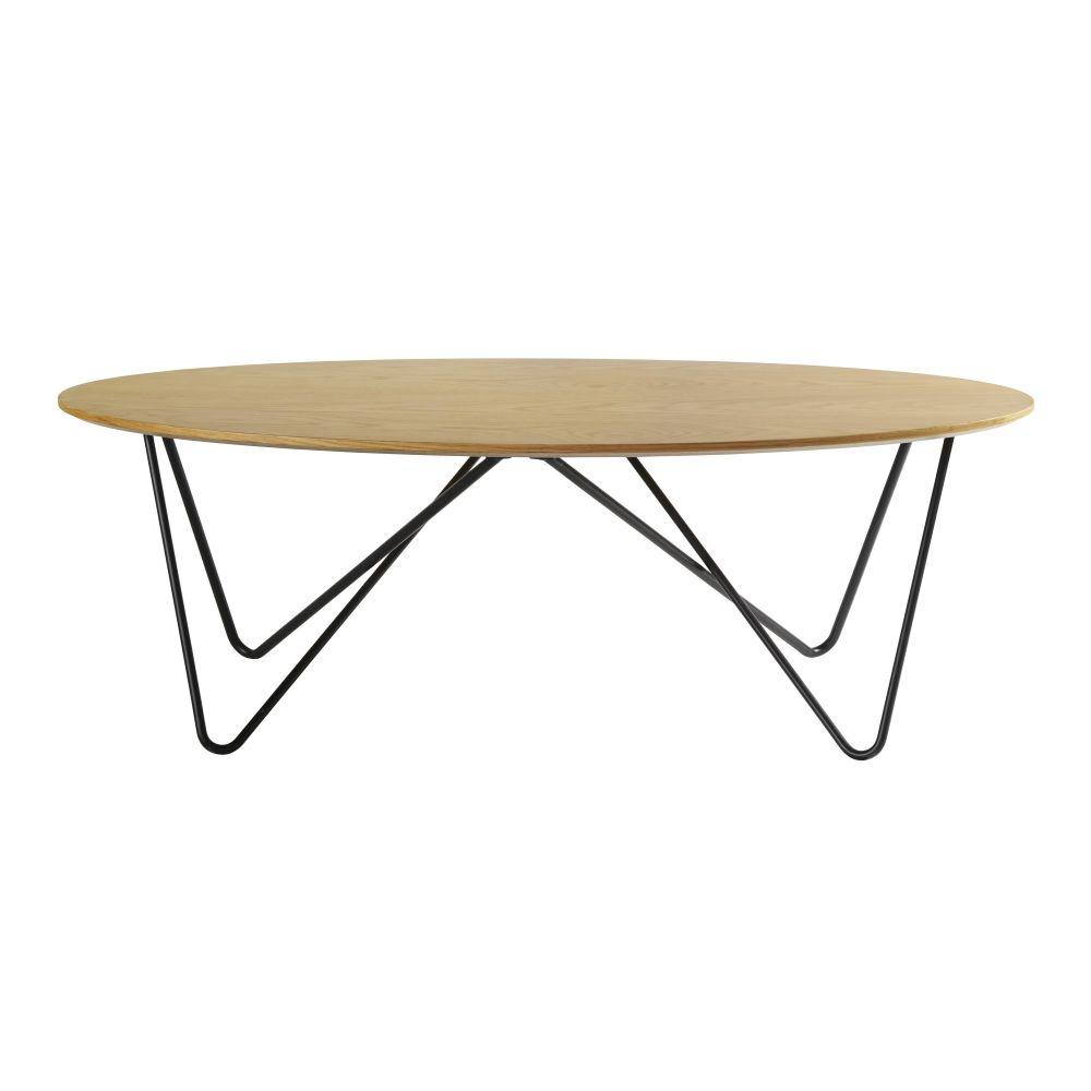 Table basse ovale pieds en métal noir