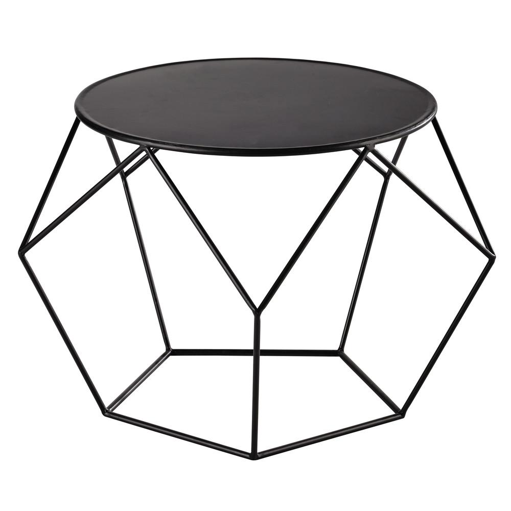 Table basse ronde en métal noir