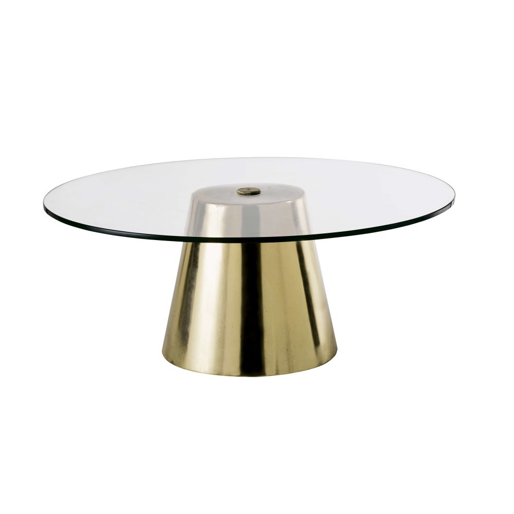 Table basse ronde en verre trempé et métal coloris laiton
