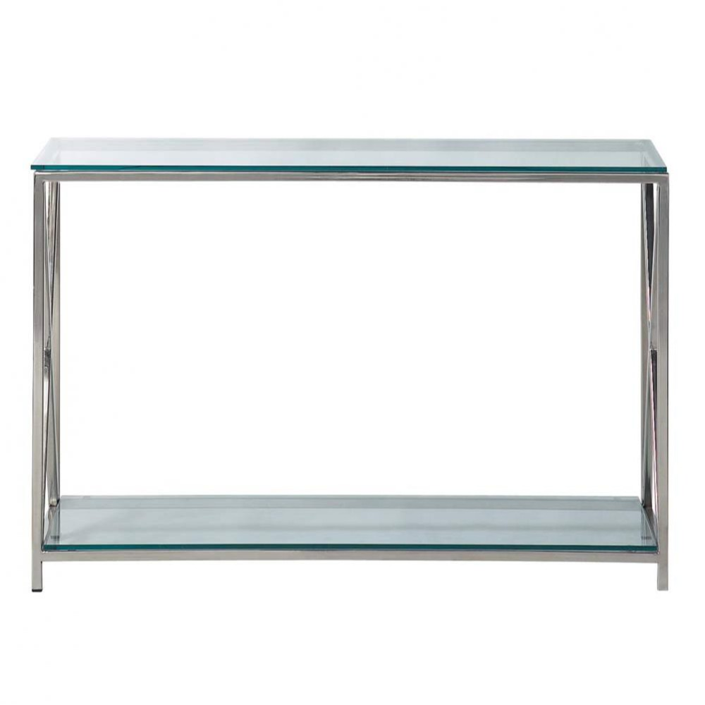 Table console en acier et verre chromée L 119 cm