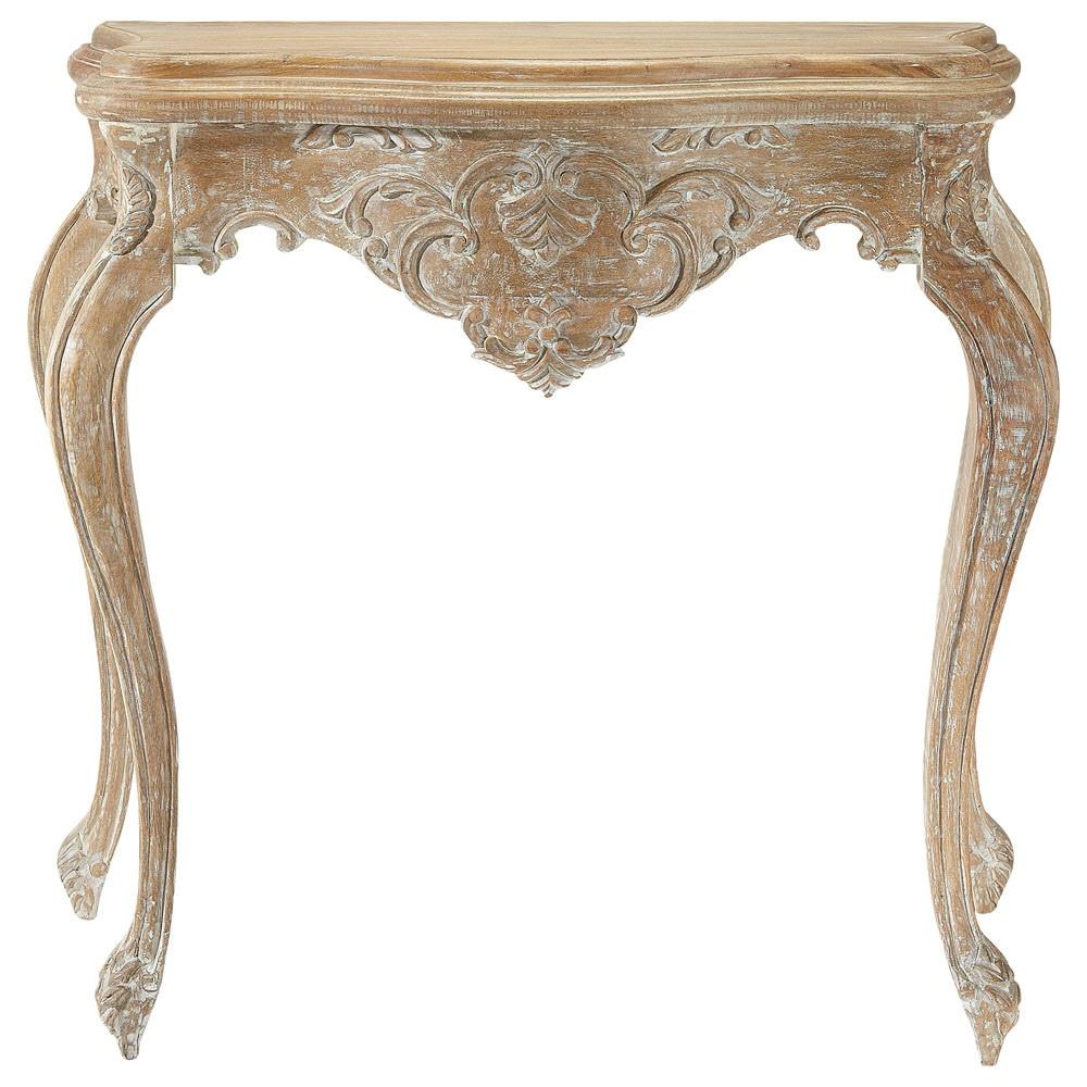 Table console en manguier blanchi effet vieilli L 86 cm
