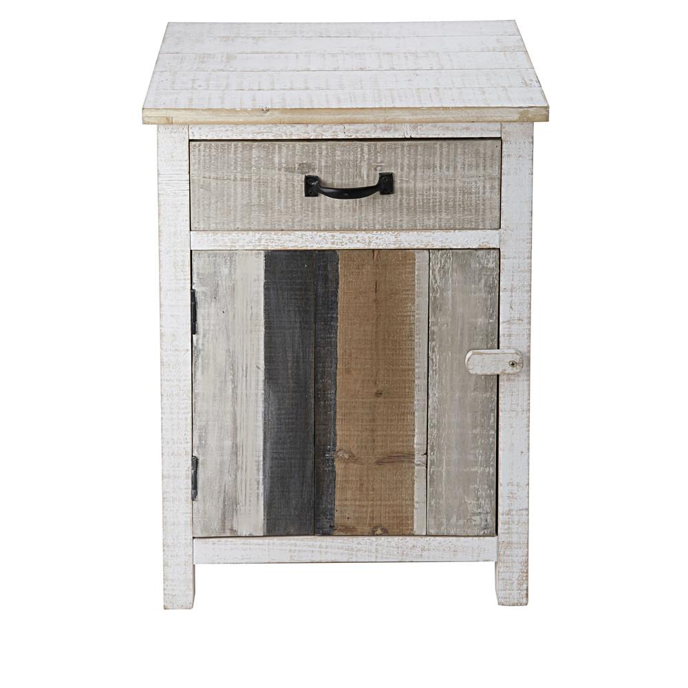 Table de chevet 1 porte 1 tiroir en sapin blanchi