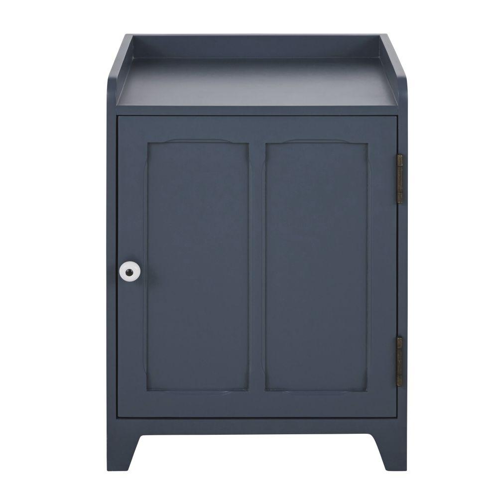 Table de chevet 1 porte bleu nuit