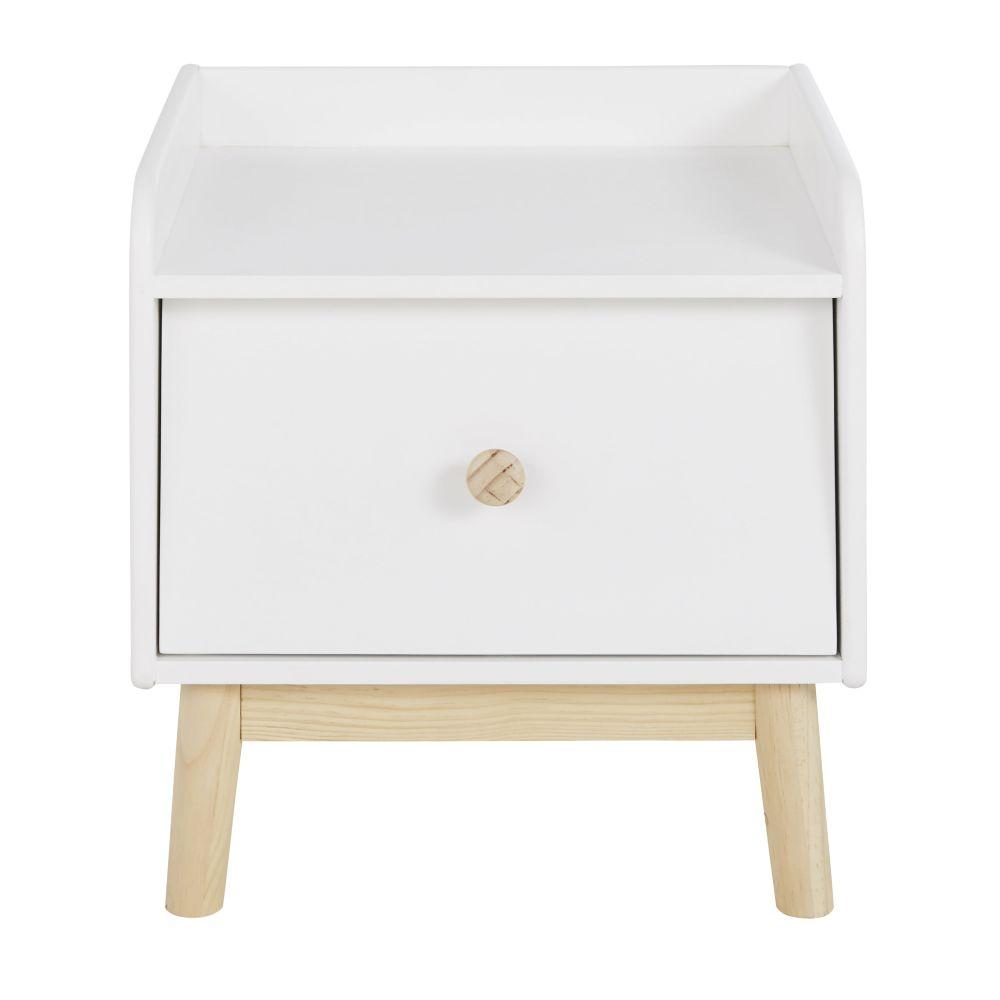 Table de chevet 1 tiroir blanc