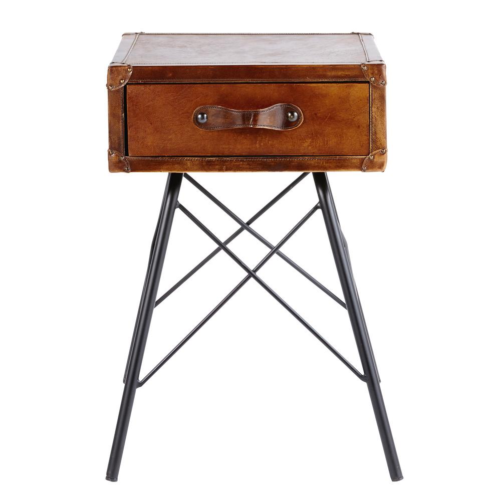 Table de chevet 1 tiroir en cuir marron et métal noir