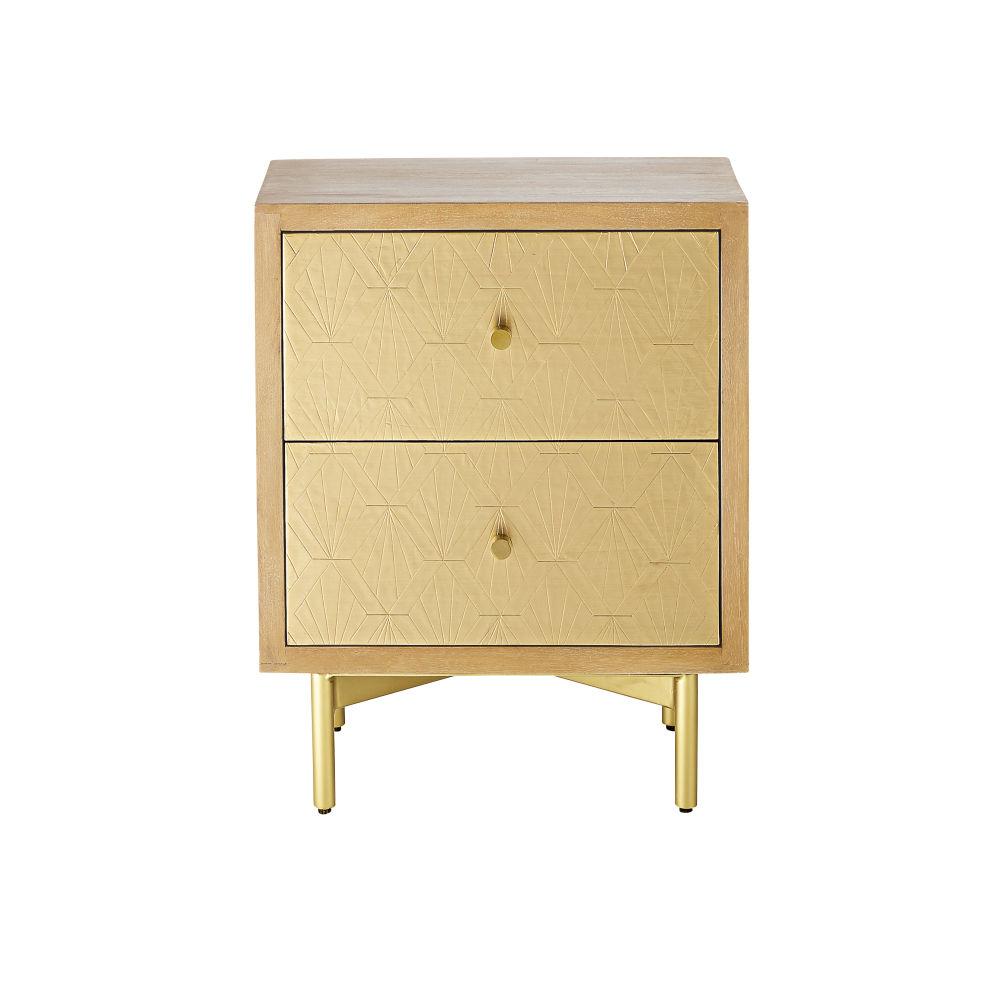 Table de chevet 2 tiroirs motif ciselé et métal doré
