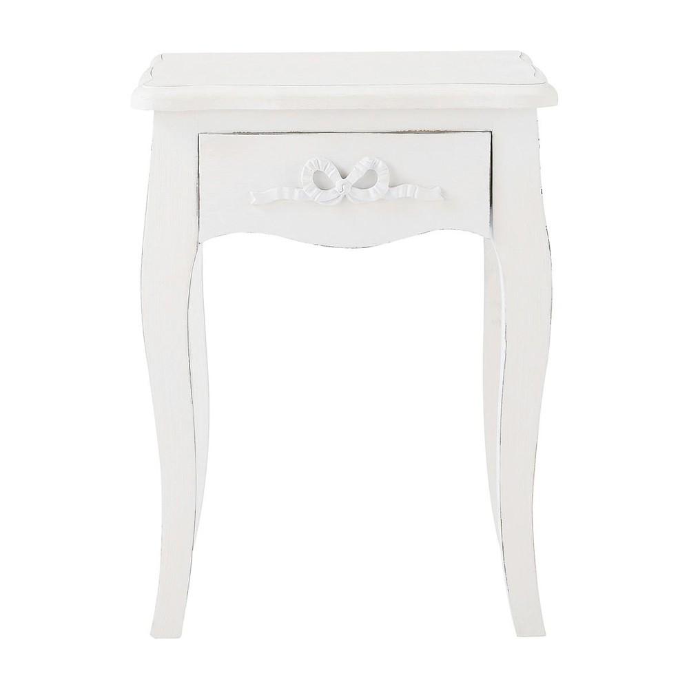 Table de chevet avec tiroir en bois blanc L 40 cm