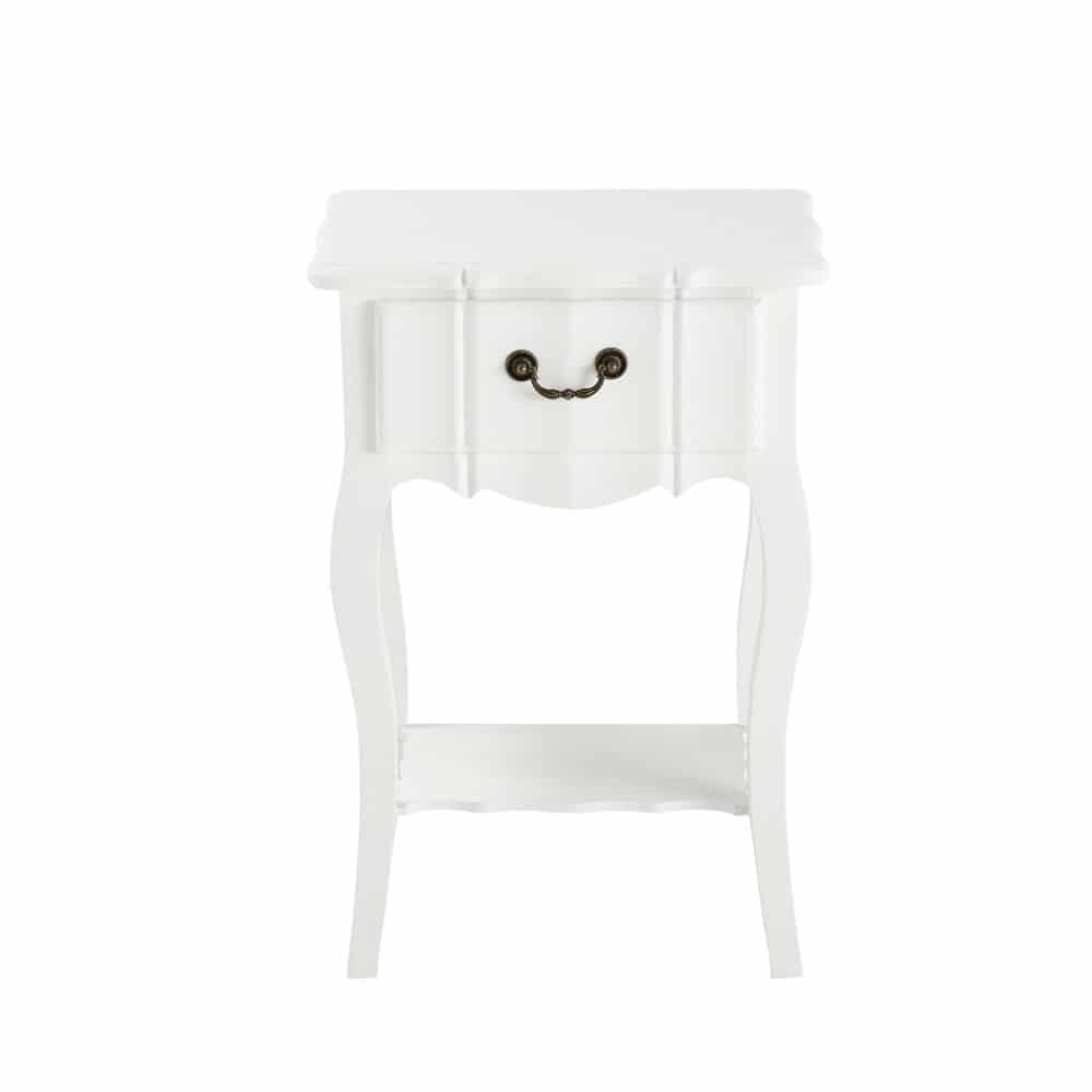 Table de chevet avec tiroir en bois de paulownia blanche L 44 cm