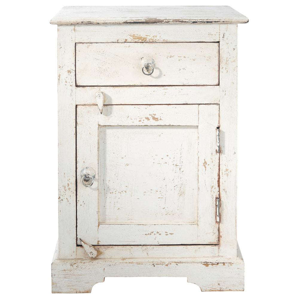 Table de chevet avec tiroir en manguier blanche L 42 cm