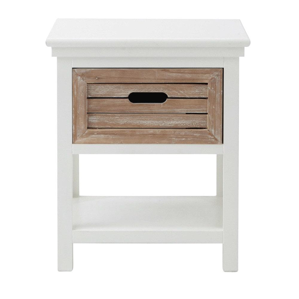 Table de chevet avec tiroir en sapin blanche