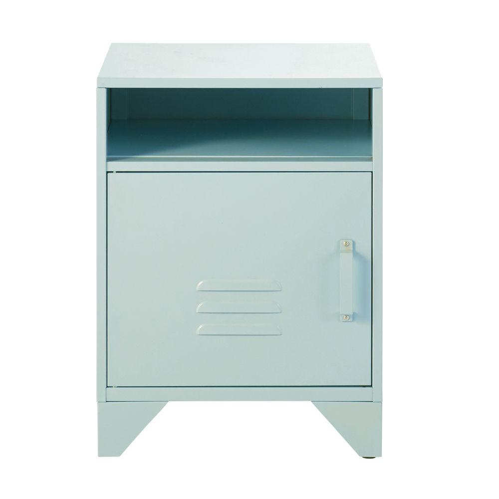 Table de chevet en métal bleu pastel