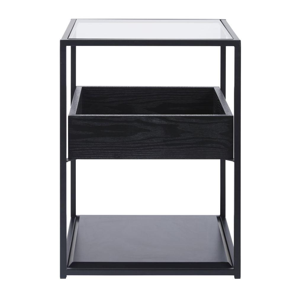 Table de chevet en métal noir et verre