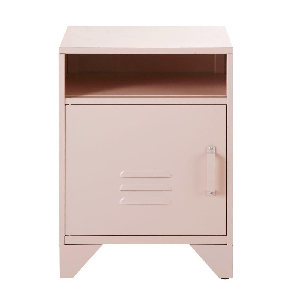 Table de chevet en métal rose pastel
