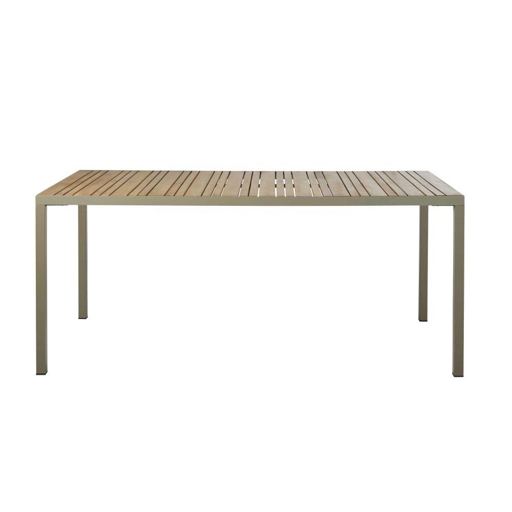 Table de jardin en acacia massif coloris imitation teck et aluminium vert kaki 8 personnes L180