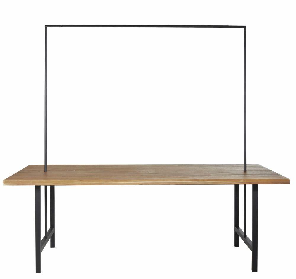 Table de jardin en acacia massif et métal noir avec barre de suspension amovible 8/10 personnes L220