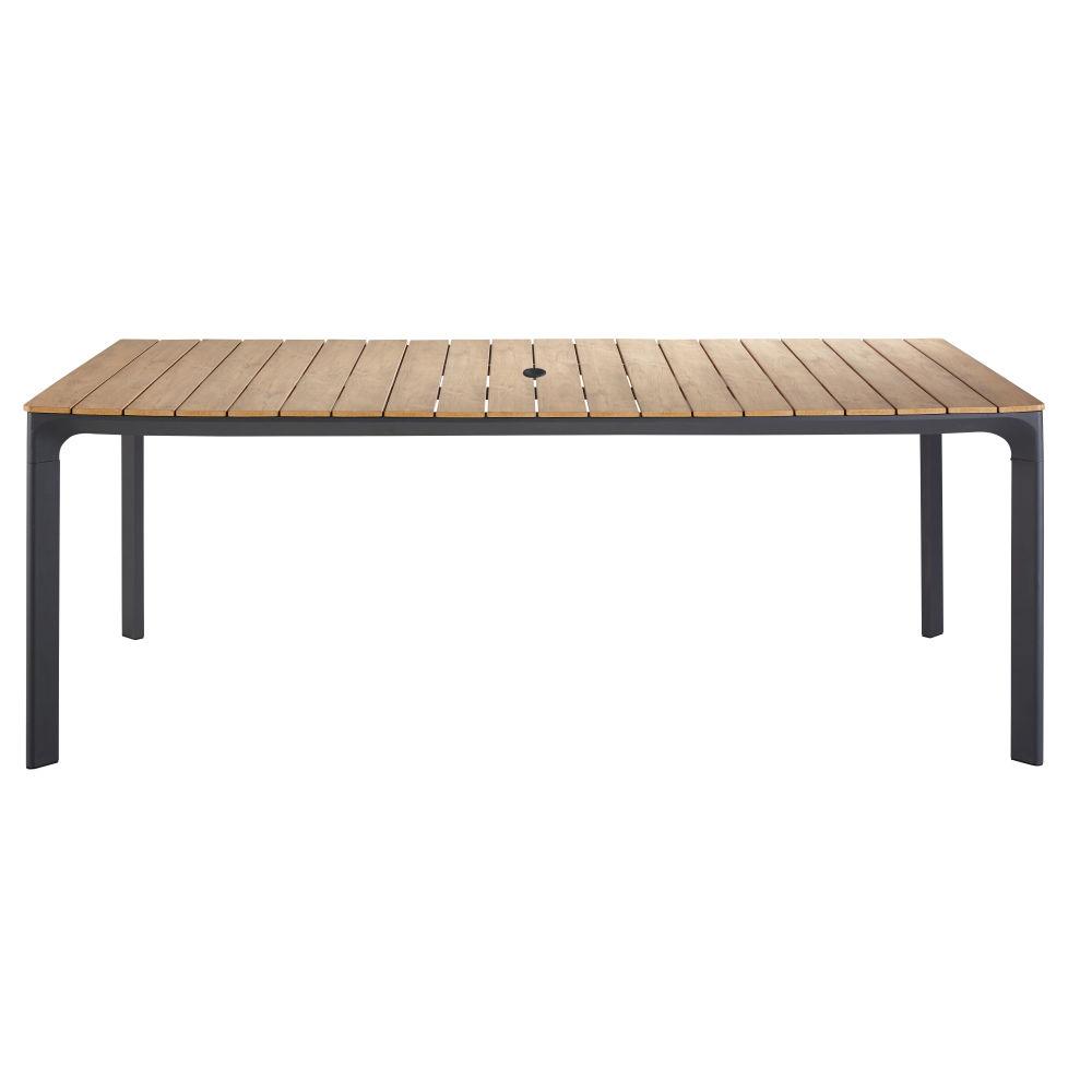 Table de jardin en aluminium gris anthracite 6/8 personnes L200
