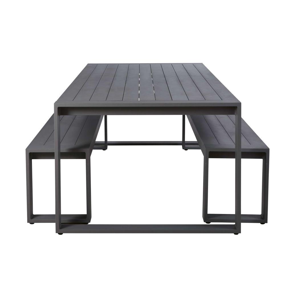 Table de jardin et bancs (x2) en aluminium gris anthracite 8/10 personnes L220