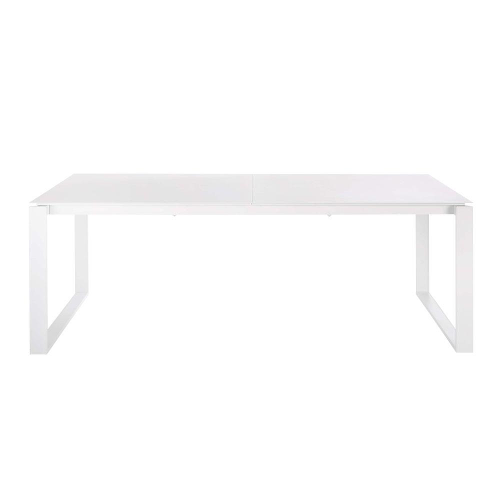 Table de jardin extensible en aluminium blanc 8/10 personnes L206/266