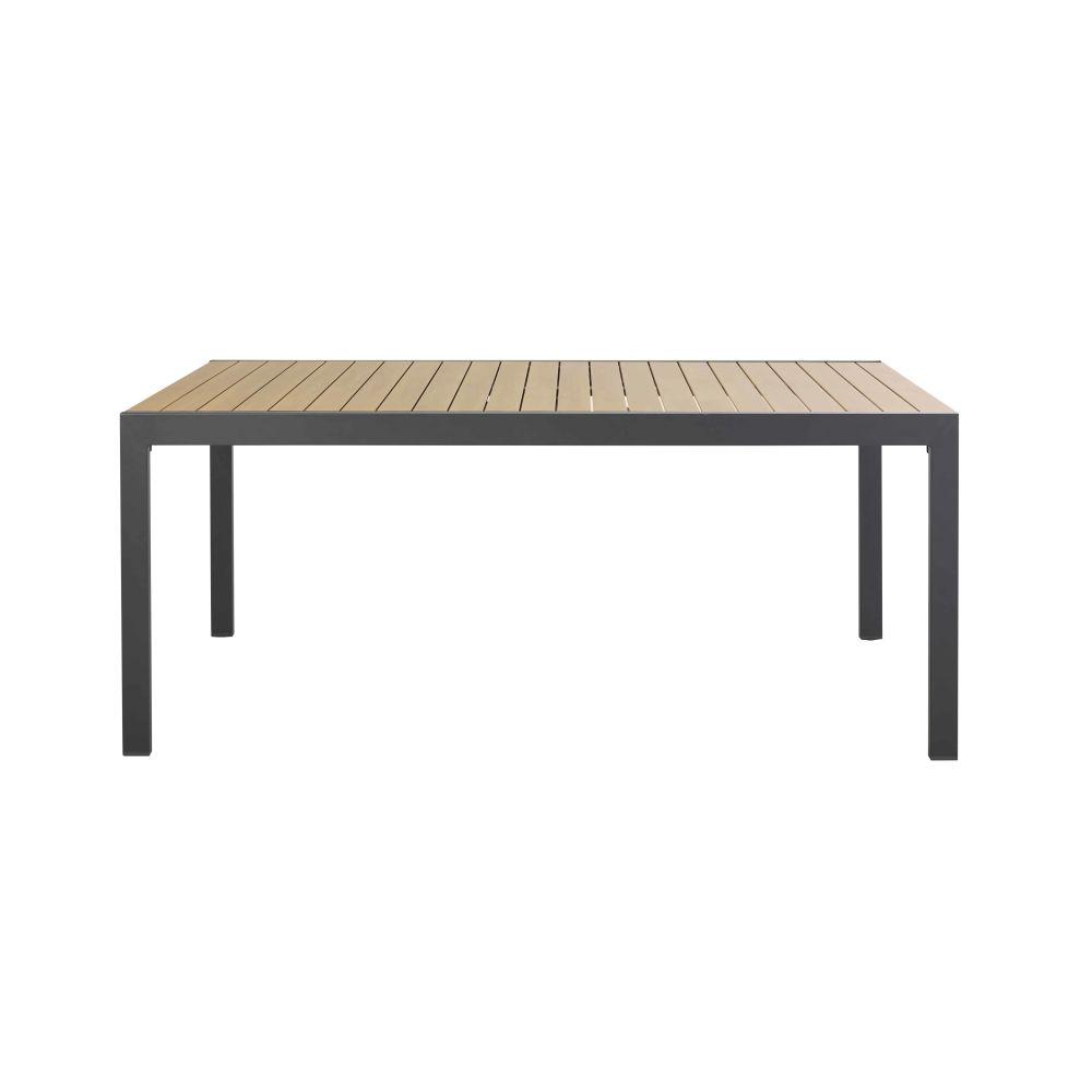 Table De Jardin Extensible En Aluminium Coloris Imitation Teck Et Gris Anthracite 8/12 Personnes L180/270