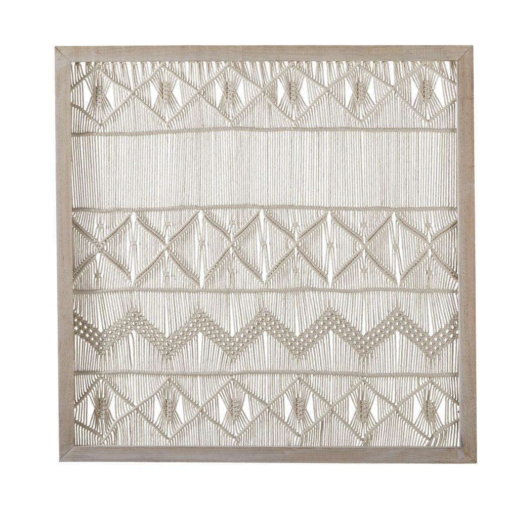 Tableau en pin blanchi et macramé blanc 91x91