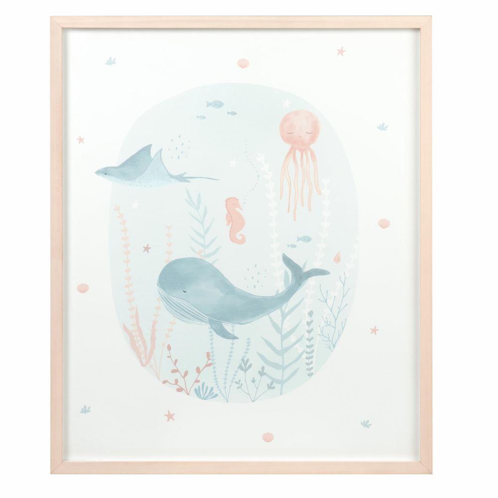 Tableau imprimé animaux marins en pin 50x60