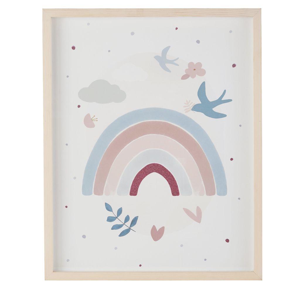 Tableau imprimé arc-en-ciel en pin 40x50