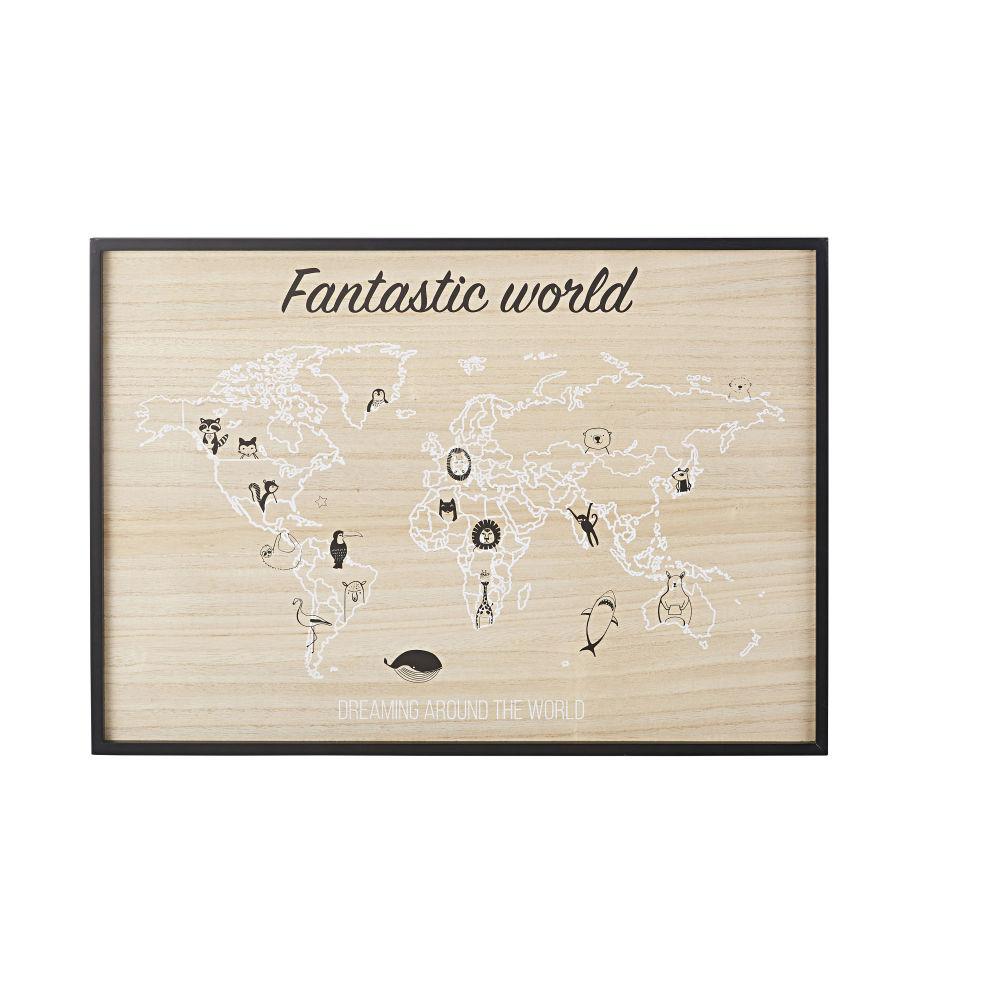 Tableau imprimé carte du monde en pin 70x50