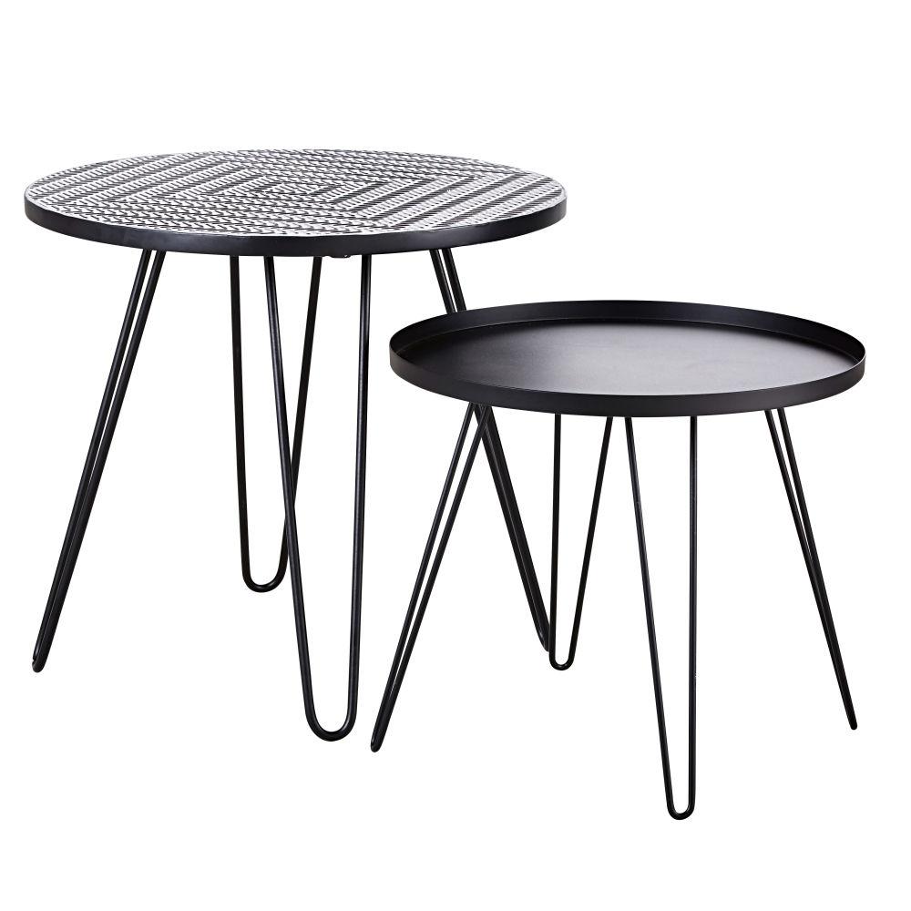Tables basses de jardin en faïence à motifs et métal noir (x2)