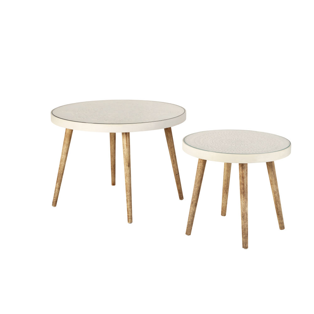 Tables gigognes blanches motifs gravés et verre