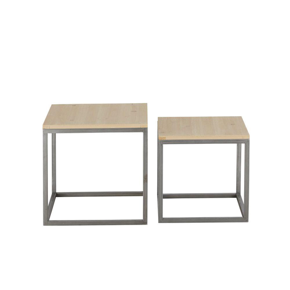 Tables gigognes coloris gris et naturel