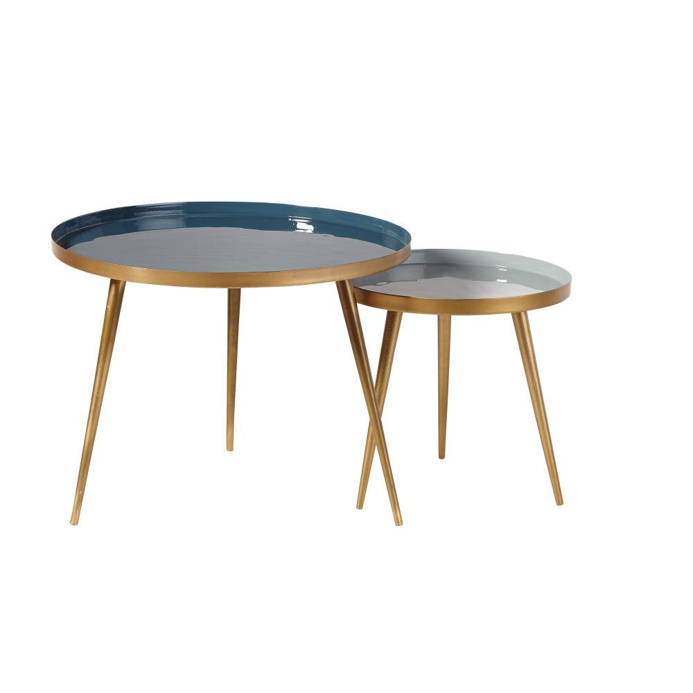 Tables gigognes en métal bleu et doré