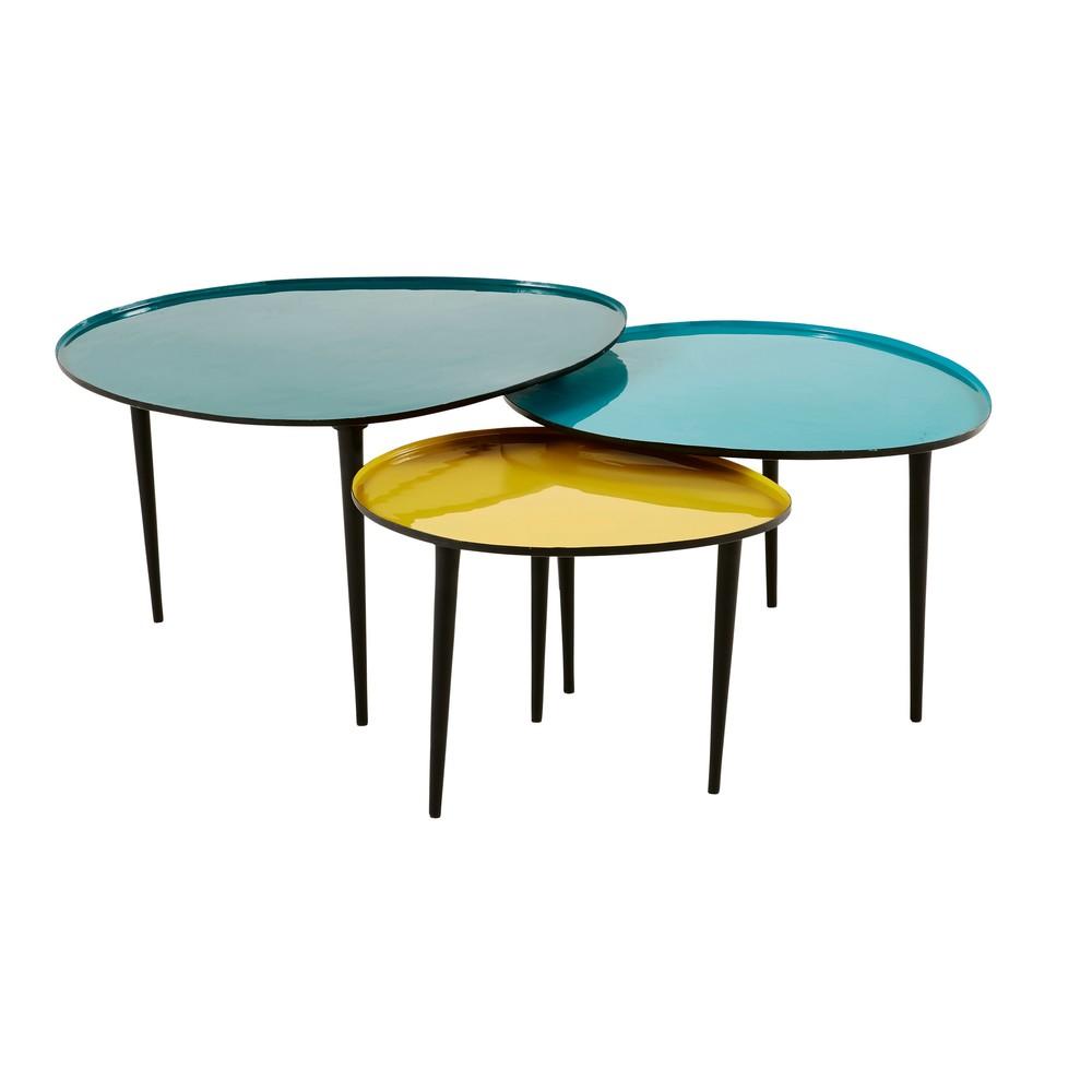Tables gigognes en métal laqué bleu et jaune