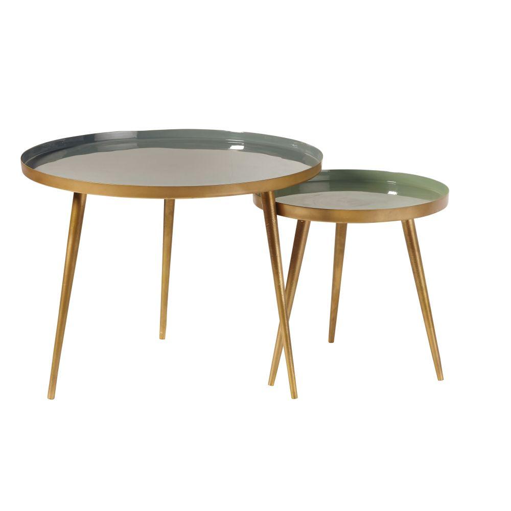 Tables gigognes en métal vert et doré
