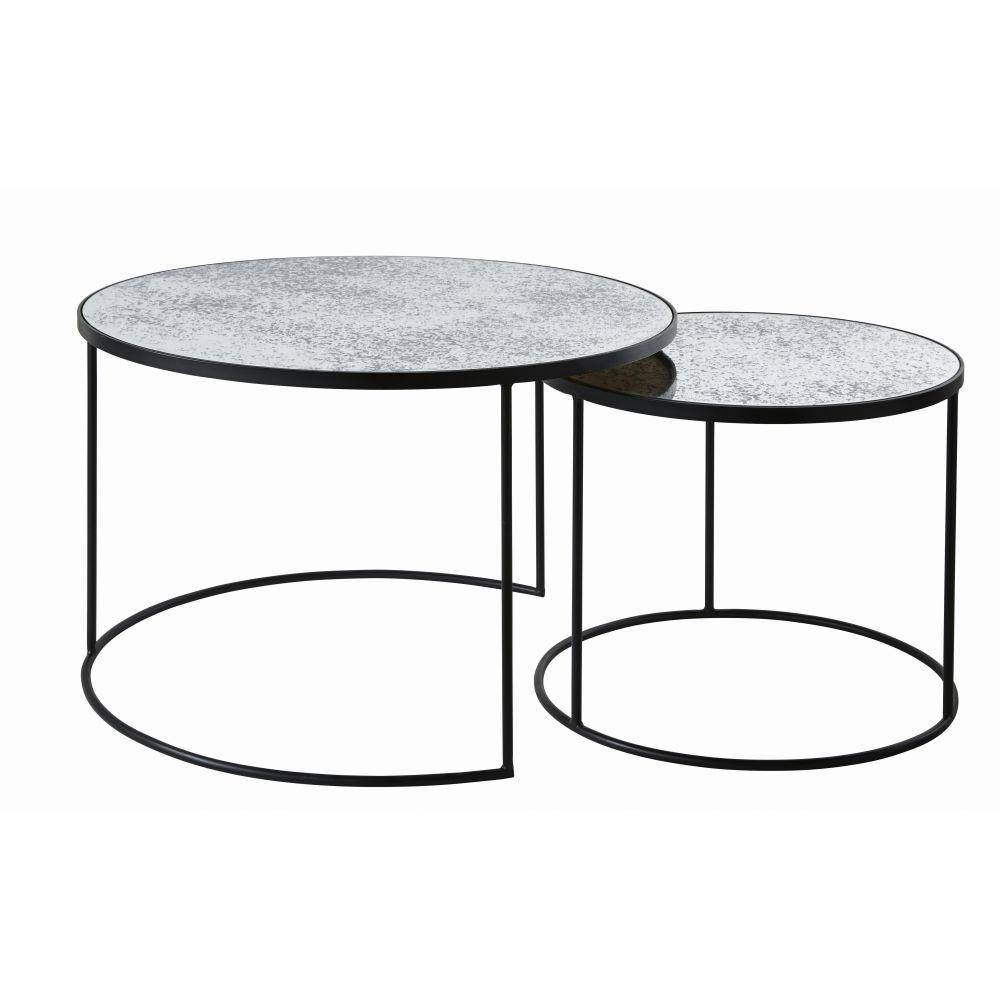 Tables gigognes rondes en verre trempé effet miroir